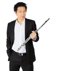 Professional flute player on white
