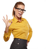 Happy beautiful girl in stylish black glasses showing thumb up s