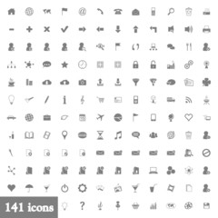 141 icons - light grey