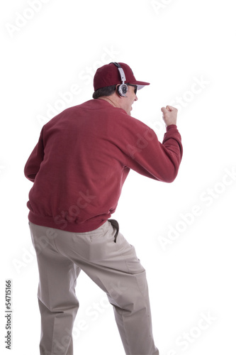 Coach encouraging his players isolated on white