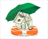A life preserver filled with money and an umbrella