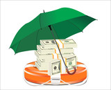 A life preserver filled with money and umbrella