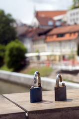 symbolic locks of broken love  Butcher's Bridge on Ljubljanica R