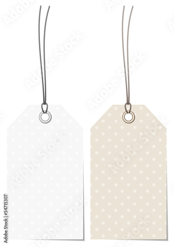 2 Label White/Beige Dots