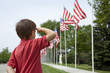 Boy salutes flags at Memorial Day display in a small town - 54715509