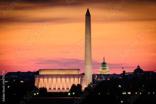 Foto op Canvas Monument Washington DC skyline