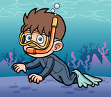 Vector illustration of Snorkeling kid