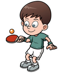 Vector illustration of cartoon table tennis player