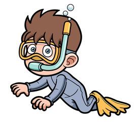 Vector illustration of Snorkeling kid