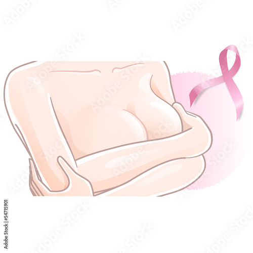 乳がん ピンクリボン Breast cancer - woman holding her breast