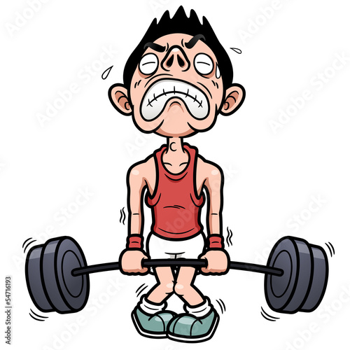 Vector illustration of man tries to lift a weight