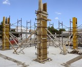 Construction site - Carpentry concrete structure Formwork for pi poster