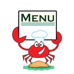 "Crab with banner "" Menu""."