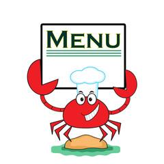 """Crab with banner """" Menu""""."""