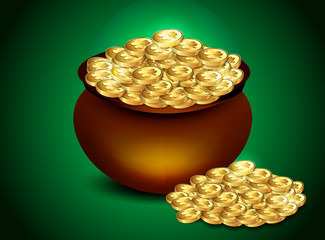 Gold coin in bowl
