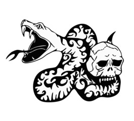 snake and skeleton - tribal