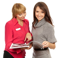 shop manager and customer