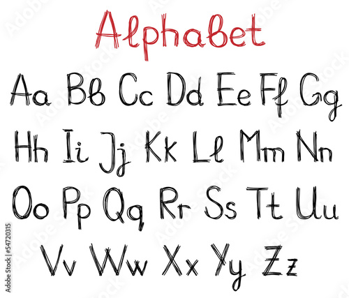 Hand drawn alphabet letters