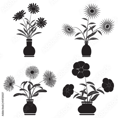 Flowers in pots vector set