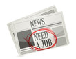 news. newspaper with a need a job sign.