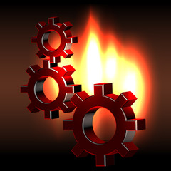 Bunch rotating gears in flames
