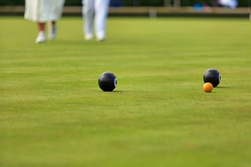 Ladies playing lawn bowls