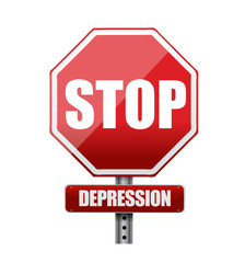 stop depression road sign illustration