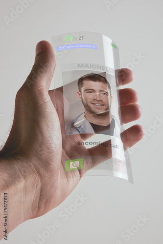 Transparent future mobile phone made of graphene. Concept.