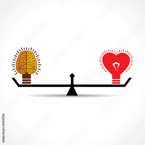 Brain and heart  is equal weight age stock vector