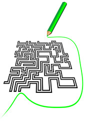 maze and a pencil