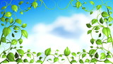 Green Plant pattern with clouds. HD 1080.
