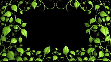 Green Plant pattern is growing on black in HD 1080.