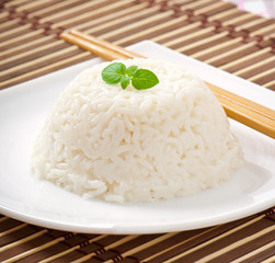 Cooked rice in a white plate