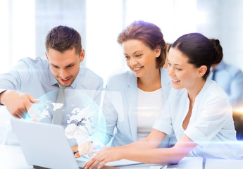 business teamworking with virtual screen