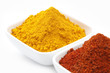 Turmeric and Chili Powder in Square Bowl