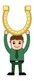 Man with Golden Horseshoe - Cartoon Business Characters
