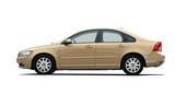 gold sedan on white background