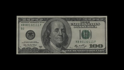 100 dollar bill turns into stack of dollar bills, spinning