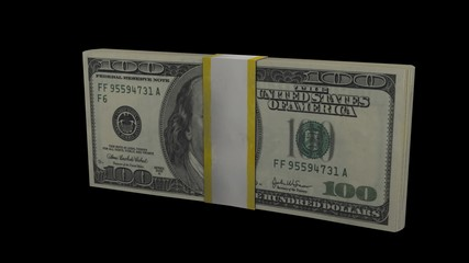 One dollar bill turns into 100 dollars, spinning transformation