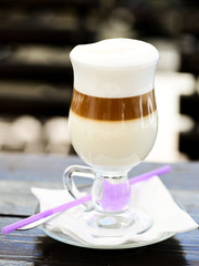 latte in the glass