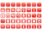 set of red New Year icons