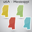 stickers in form of Mississippi state, USA