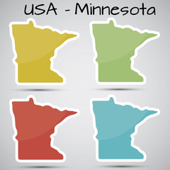 stickers in form of Minnesota state, USA