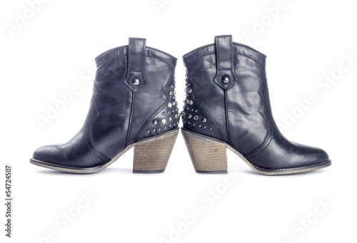 Woman's Black Leather Cowboy Boots Isolated on White
