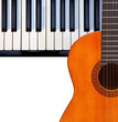 Guitar, piano on white