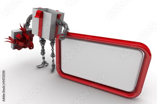 Самоходная подарочная коробка с текстовым полем.