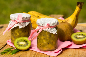 Hand-made kiwi confiture with banana