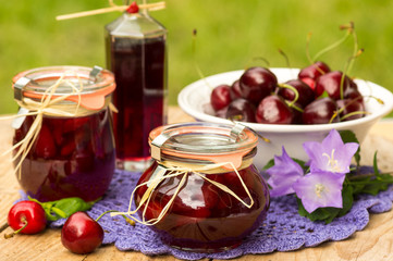 Cherry confiture with blackcurrant (cassis) liqueur