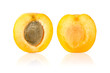 Apricot Cut in Half on White Background