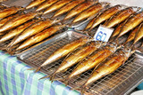Grilled saba fishes sold in Thai market poster